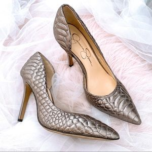 Jessica Simpson Quilted Pewter Heels Silver